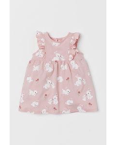 Jerseykleid mit Volants Hellrosa/Kaninchen