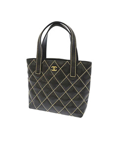 Chanel Wild Stitch Leather Tote Bag Black