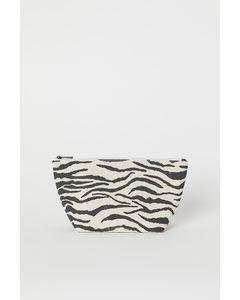 Mönstrad Makeup-väska Ljusbeige/zebramönstrad