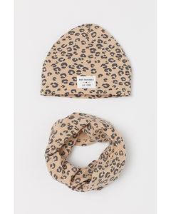 2-teiliges Jerseyset Hellbeige/Leopardenmuster