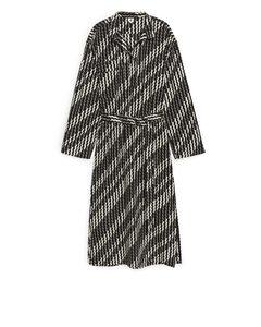 Lyocell Nylon Belted Dress Off White/black