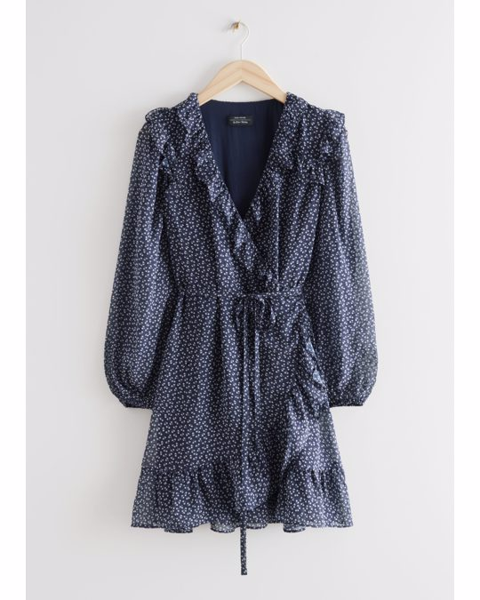 & Other Stories Ruffled Mini Wrap Dress Blue Print