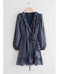 Mini-Wickelkleid mit Rüschen Blau/Print