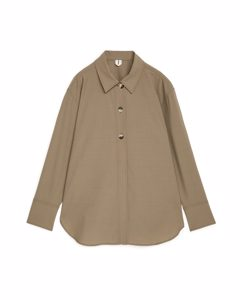 Oversized-Overshirt aus Wolle Beige