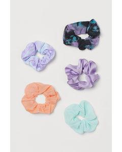 5-pack Scrunchie Ljuslila/batikmönstrad