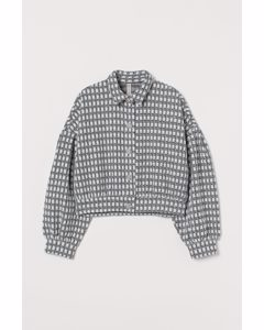 Puff-sleeved Jacket White/black Checked