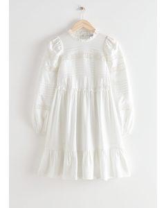 Tiered Mini Lace Dress White