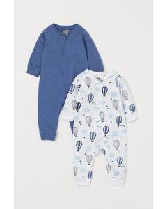 2-pack Pyjamas Med Dragkedja Blå/luftballonger
