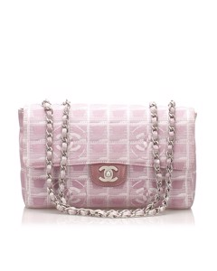 Chanel New Travel Line Classic Flap Nylon Shoulder Bag Pink