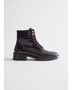 Croc Embossed Chunky Leather Boots Black Croco