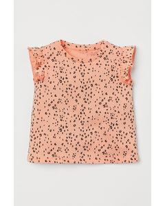 Shirt mit Flügelärmeln Apricot/Leopardenmuster