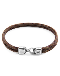 Anchor & Crew Brown Cromer Silver And Rope Bracelet