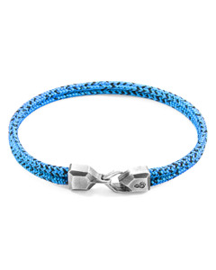 Anchor & Crew Blue Noir Cromer Silver And Rope Bracelet