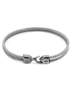 Anchor & Crew Classic Grey Cromer Silver And Rope Bracelet