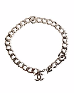 Chanel Silver Metal Chunky Chain Necklace With Cc Logo