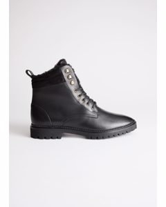 Leather Lace Up Snow Boots Black