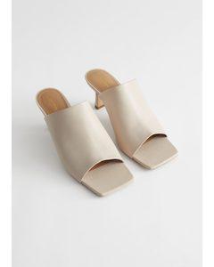 Leather Flared Heel Mules Beige