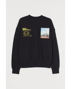 Sweatshirt aus Baumwolle Schwarz/Planet