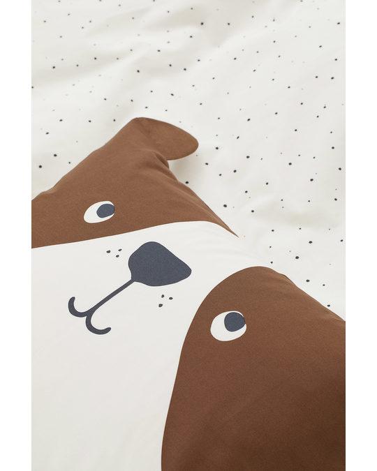 H&M HOME Patterned Duvet Cover Set Brown/dog