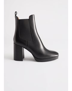 Block Heel Leather Chelsea Boots Black