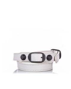 Balenciaga Classic Arena Wrap Leather Bracelet White