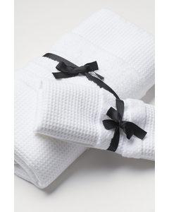 Badehandtuch mit Waffelmuster Weiß