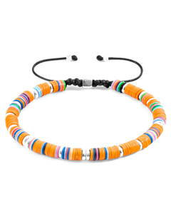 Anchor & Crew Orange Kivu Silver And Vinyl Disc Macrame Bracelet