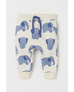 Joggers aus Baumwolle Naturweiß/Elefanten