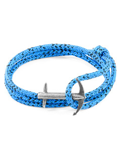 Anchor & Crew Blue Noir Admiral Anchor Silver And Rope Bracelet