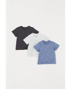 Set Van 3 T-shirts Blauw/olifanten