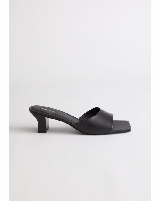 & Other Stories Squared Toe Heeled Leather Mules Black