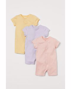 Set Van 3 Tricot Pyjamapakjes Poederroze/pofmouwen