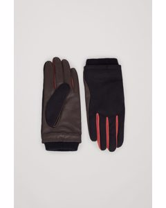 Woven-leather Contrast Panel Gloves Brown / Multi