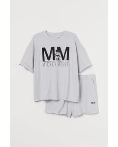 H&M+ Pyjama aus Baumwolljersey Hellgrau/Micky Maus