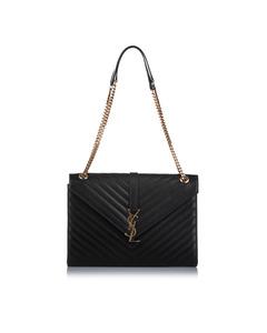 Ysl Monogram Envelope Leather Shoulder Bag Black