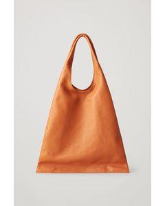 Folded Leather Shopper Bag Brown