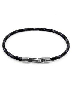Schwarze Talbot Silber Und Seil Armband