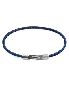 Anchor & Crew Navy Blue Talbot Silver And Rope Bracelet