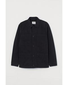 Hemdjacke aus Baumwolltwill Schwarz