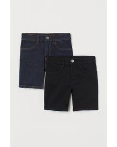 Set Van 2 Shorts - Slim Fit Zwart/donker Denimblauw