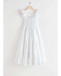 Embroidered Sleeveless Midi Dress White