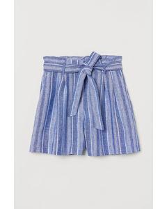 Paperbagshort Blauw/wit Gestreept