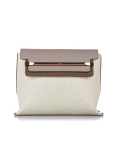 Chloe Clare Ostrich Leather Shoulder Bag White