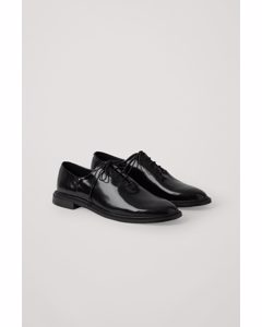 Patent Leather Lace-up Brogues Black