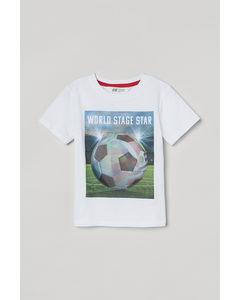 T-Shirt mit interaktivem Motiv Weiß/Fußball