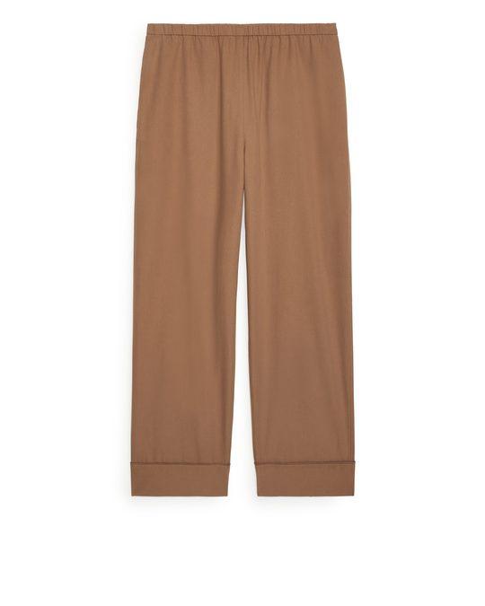 Arket Flannel Pyjama Trousers Dark Beige