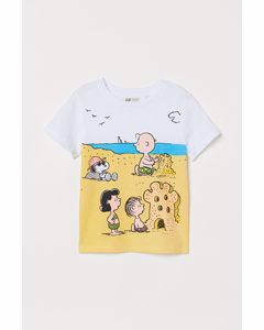 T-shirt Met Print Wit/snoopy