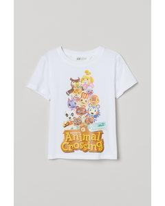 T-shirt med tryck Vit/Animal Crossing