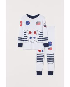 Trikåpyjamas Vit/nasa