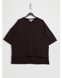 Lyocell Side Slit Oversized T-shirt Brown